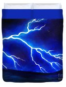 Blue Lightning Above The Ocean Duvet Cover