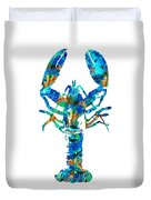 Blue Lobster Art By Sharon Cummings Duvet Cover