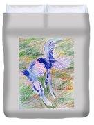 Blue Magpies Duvet Cover
