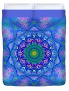 Blue Mandala For Heart Chakra Duvet Cover