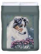 Blue Merle Collie Pup Duvet Cover