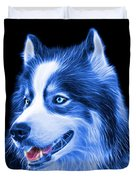 Blue Modern Siberian Husky Dog Art - 6024 - Bb Duvet Cover