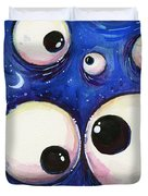 Blue Monster Eyes Duvet Cover
