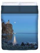 Blue Moonrise At Split Rock Lighthouse Duvet Cover