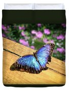 Blue Morpho Butterfly On A Wooden Board Duvet Cover