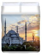 Blue Mosque At Sunset Duvet Cover