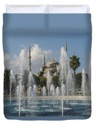 Blue Mosque Through The Fountain Duvet Cover