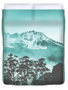 Blue Mountain Winter Landscape Duvet Cover