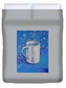 Blue Mug With Flowers Duvet Cover