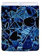 Blue Neon Shells Duvet Cover