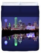 Blue Night And Reflections In Dallas Duvet Cover