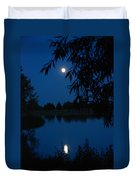 Blue Night Moon And Reflection Duvet Cover