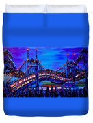 Blue Night Of St. Johns Bridge 37 Duvet Cover
