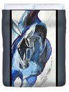 Blue Olympic Horse  Duvet Cover
