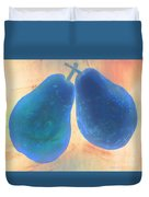 Blue Pears On Soft Peach Duvet Cover