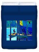Blue Pelicans Duvet Cover