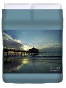 Blue Pier 60 Sunset Duvet Cover