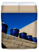 Blue Pottery On Wall Duvet Cover