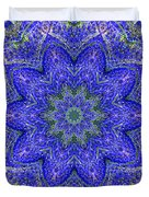 Blue Purple Lavender Floral Kaleidoscope Wall Art Print Duvet Cover