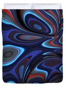 Blue Red Folds Duvet Cover