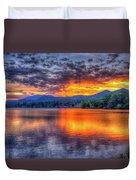 Blue Ridges Lake Junaluska Sunset Great Smoky Mountains Art Duvet Cover