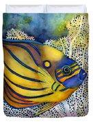 Blue Ring Angelfish Duvet Cover