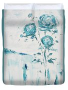 Blue Roses On A Table Duvet Cover