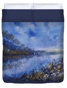 Blue Sail, Watercolor Painting Duvet Cover