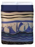 Blue Sailing Boats In The Harbour Duvet Cover