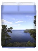 Blue Sea And Pine Trees Duvet Cover