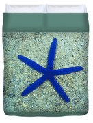 Blue Sea Star Or Starfish On Sand Duvet Cover