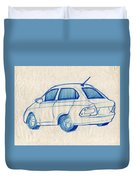 Blue Sketch Of A Car From Left Rear View With A Rear Aerial  Duvet Cover