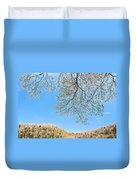 Blue Skies And Dogwood Duvet Cover