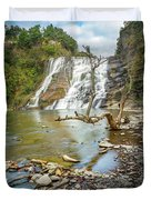 Blue Skies Over Ithaca Falls Duvet Cover