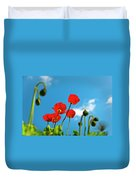 Blue Sky And Poppies Duvet Cover