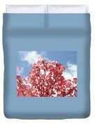 Blue Sky Clouds Landscape 7 Pink Dogwood Tree Baslee Troutman Duvet Cover