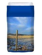 Blue Sky Fence Line Duvet Cover