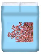 Blue Sky Floral Art Print Pink Dogwood Tree Flowers Baslee Troutman Duvet Cover