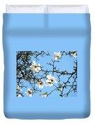 Blue Sky Floral Art White Magnolia Tree Duvet Cover
