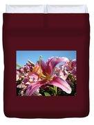 Blue Sky Floral Landscape Pink Lilies Art Prints Canvas Baslee Troutman Duvet Cover