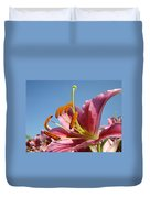 Blue Sky Florals Art Pink Calla Lily Blooming Baslee Troutman Duvet Cover