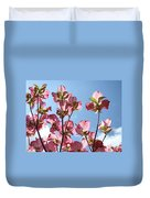Blue Sky Landscape White Clouds Art Prints Pink Dogwood Flowers Baslee Troutman Duvet Cover