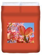 Blue Sky Pink Azalea Dogwood Flowers 4 Landscape Nature Artwork Duvet Cover