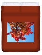 Blue Sky Red Autumn Leaves Sunlit Orange Baslee Troutman  Duvet Cover