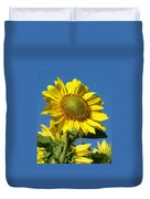 Blue Sky Sunflower Day Duvet Cover