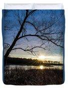Blue Sky Sunrise On The Marsh Duvet Cover