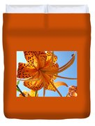Blue Sky Sunshine Tiger Lily Flowers Giclee Prints Baslee Troutman Duvet Cover