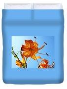 Blue Sky Tiger Lily Floral Garden Art Prints Baslee Troutman Duvet Cover