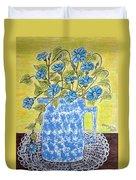 Blue Spongeware Pitcher Morning Glories Duvet Cover