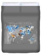 Blue Street Art World Map Duvet Cover